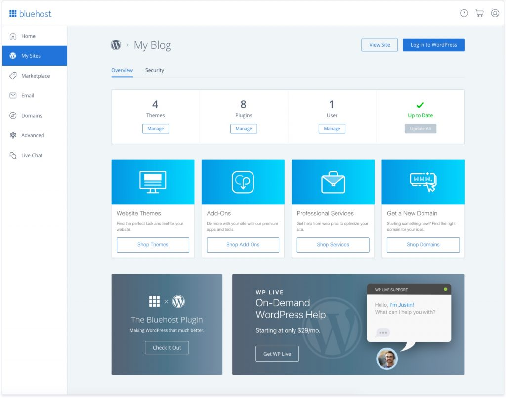 Bluehost User Interface