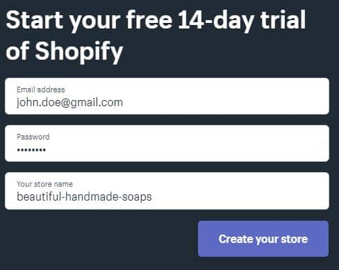 Shopify registration form.