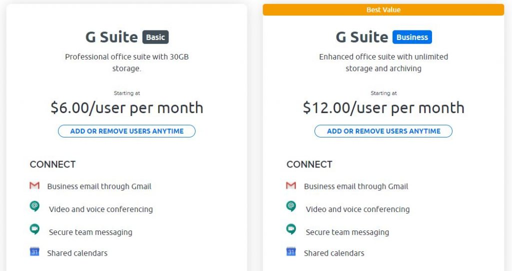Features and pricing for G Suite plans.