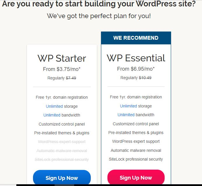 WordPress plans offered by iPage and their specific features
