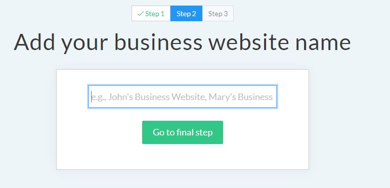 Site123 Add your business website name