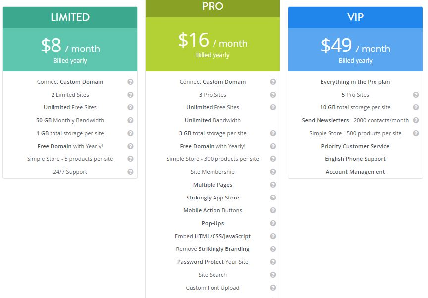 Strikingly Plans and Pricing