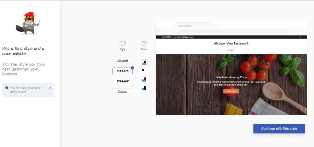 SimpleSite Choose Style and Color Theme Page