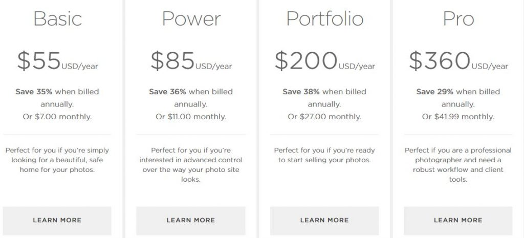 SmugMug Photography Website Builder Pricing